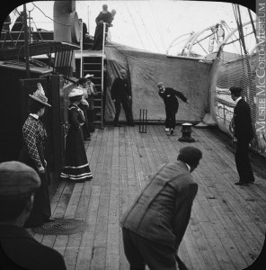 Cricket aboard the Argonaut, Montreal, 1900 - a lot like our indoor cricket in 2009