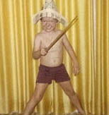 Brendon developed an early obsession for pirates. Pictured here with a stump